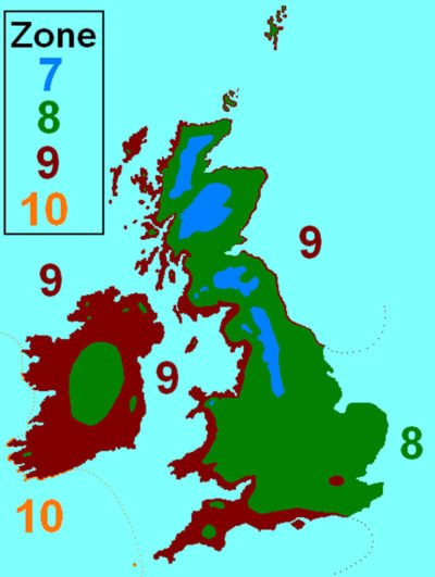Map of the UK's USDA hardiness zones