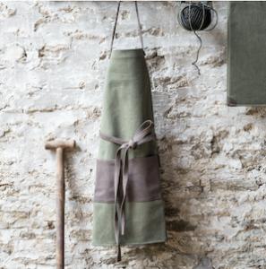 Khaki and brown gardening apron