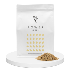Front image of the Power Lawn grass seed product pouch with grass seed in front of the pouch