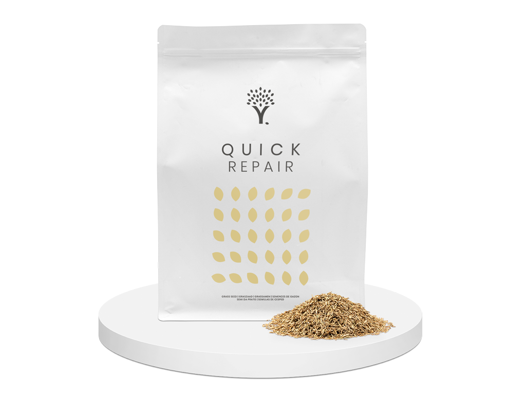 Front image of the Quick Repair grass seed product pouch with grass seed in front of the pouch